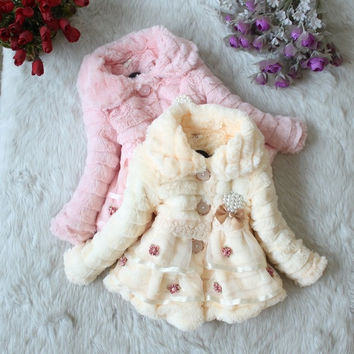 Fashioncity Retail Girls fur coat Autumn Winter Clothes Children Kids Toddler children's Sweet flower outerwear jacket Warm clothing = 1651276548