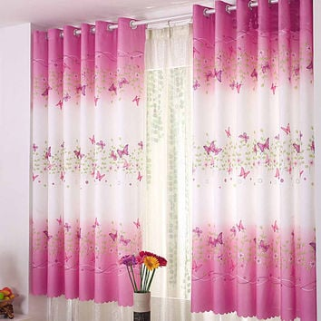 Butterfly Short Window Curtains for Living Room Curtains for Bedroom 1%-40% Blackout rate Butterfly Curtain for Girl Princess