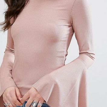 Missguided Ribbed Flared Sleeve Top at asos.com