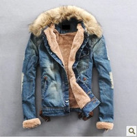 New Winter Men Clothing Jean Coat outwear Fur Collar Denim Jacket Winter Men's Coat Jackets