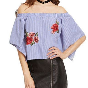Women Striped Fashion Shirts Floral Embroidery Off Shoulder Short Sleeves Tops Loose Elastic Ruffle Blouses