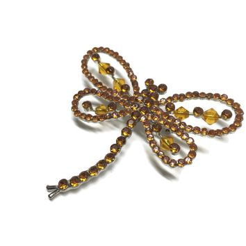 Vintage Rhinestone and Crystal Dragonfly Brooch, Amber Crystal Insect Pin, Gift for Bug Lover From Friend, Large Statement Jewelry
