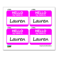 Lauren Hello My Name Is - Sheet of 4 Stickers