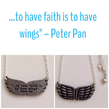 Quote Angel Wing Necklace