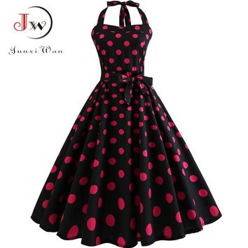 Women Sexy Halter Backless Polka Dot Dress Party Prom Office Dresses 2018 Summer Elegant Vintage Swing 50s Rockabilly Sundress