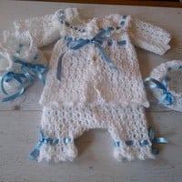 Baby Boy Coming home outfit in white , newborn boy take home clothes, crochet boy sweater hat shoes blanket pants infant boy bring home set