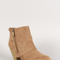 Qupid Suede Almond Toe Zipper Cuff Ankle Bootie