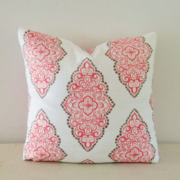 Coral Medallion Pillow Cover 18x18, 20x20 Square Throw Pillow, Accent Pillow, Toss Pillow 16 22 24 26 Euro