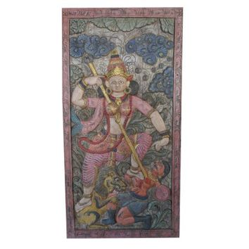 Mogul Antique Wall Sculpture Maa Durga Carved Fighting with Evil Powers Panel Barn Door - Walmart.com