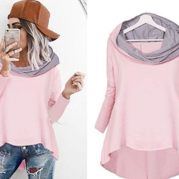 Pink Hooded Irregular Tops