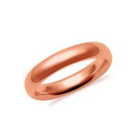 4mm 10K Rose Gold Hollow 2.0mm Thick Comfort Fit Wedding Band Ring S4-4.75: RingSize: 4