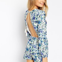 ASOS Tassle Tie Back Playsuit in Pretty Floral Print