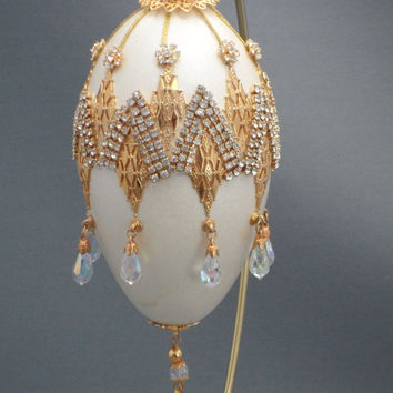 Dazzling White and Gold Jeweled Swarovski Chevron Ornament Egg Ornament Home Decor Faberge Style Decorated Goose Egg Art