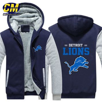 NFL American football winter thicken plus velvet zipper coat hooded sweatshirt casual jacket Detroit Lions
