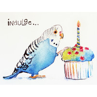 Cockatiel Bird Indulge It's Your Birthday Greeting Card