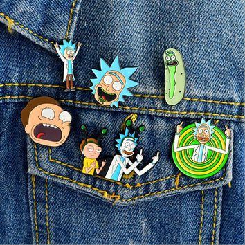 Rick and Morty Cartoon Icons Style Enamel Pin Badge Buttons Brooch Anime Lovers Shirt Denim Jackets Lapel Pin Buckle X1002
