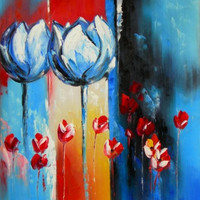 Two Blue Tulips Oil Painting