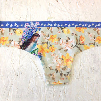 Bird and Flowers Brazilian Cut Low-Rise Panties Spring Collection