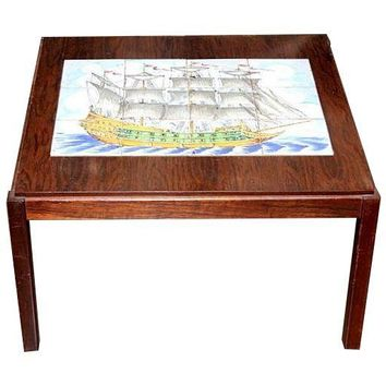 Pre-owned Rosewood Tile Top Coffee Table With Brigantine