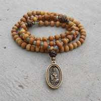 Quan Yin -108 Bead Mala Yoga Bracelet, Wrap Bracelet Or Necklace, Aromatic Sandalwood, and Tibetan Hand Made Pendant Of Quan Yin