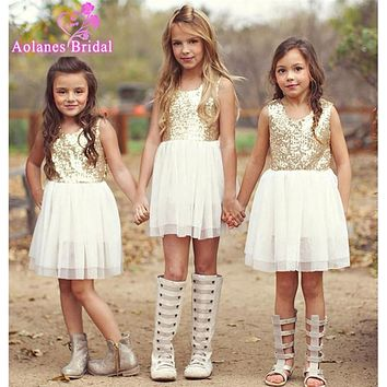 2017 New Boho Cute Golden Sequin  Bow Flower Girl Dress Open Back Knee Length Bling Birthday Party Dress Cheap Party Dresses