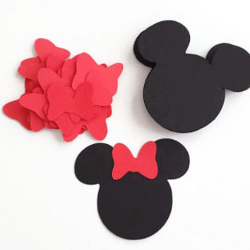 DIY 24 Die Cut Small Minnie Mouse Head, Minnie Ears With Bows, Minnie Mouse Birthday Party (2x2 3/8in.)