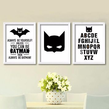 Cartoon Batman Canvas Art Print , Superhero painting poster nursery Batman wall pictures for kids room decor