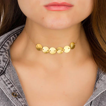Disc Choker Necklace • Circle Choker • Choker in 14k Gold Filled and Sterling silver • Gold Dainty Choker • Mother's Day Gift • 0287NM