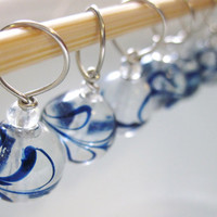 Clear Glass Stitch Markers - Painted Blue Flowers