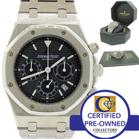 Audemars Piguet Royal Oak 25860st Chronograph Date Black Dial Watch Box Papers