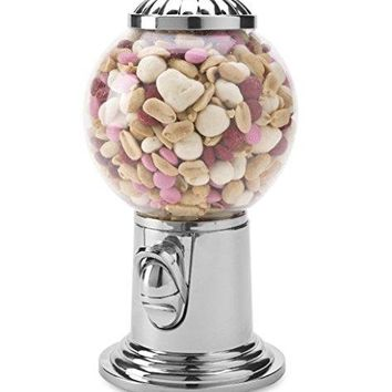 Elegant Candy Dispenser, Gumball Machine with Silver Top. Holds Snack, Candy, and Nuts,