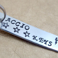Accio Keys Small Key Chain, Hand Stamped Harry Potter Keychain