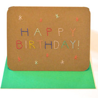 Funfetti Happy Birthday with stars card, Hand-stitched birthday card
