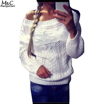 Autumn Winter Sweater Women 2017 Casual Christmas Sweater Off Shoulder Long Sleeve Knitted Women Sweaters and Pullovers Solid