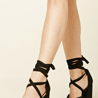 Strappy Faux Suede Heels
