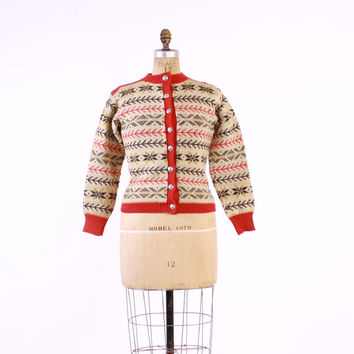 Vintage 60s NORWEGIAN CARDIGAN / 1960s Hand Knit Red Fair Isle Wool Knit Cardi Sweater S