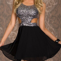 Sexy sequined halter dress MY0009FY (M, Gray)
