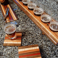 Handmade Wood Mini Beer Sampler, Cheese Board and Coaster Set 6 -  The Holiday Bomb - Black Walnut & African Mahogany