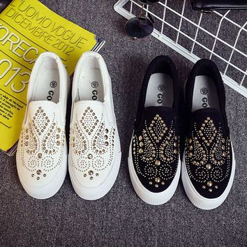Studded canvas slip on shoes