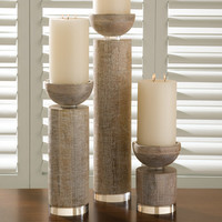 Global Views Scratched Pillar Candle Holder White-Sm Set Of 2|9-91043 at livingcomforts.com
