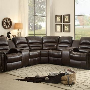 3 pc palmyra iii collection dark brown bonded leather match upholstered sectional sofa with console recliners and wedge