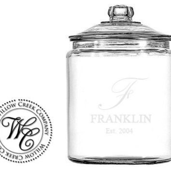 Reserved listing for Karen Personalized Glass Cookie / Candy Jar Custom Family Name Etched Glass 1/2 Gallon