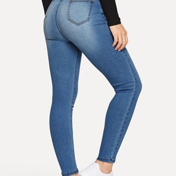 Bleach Wash Pocket Detail Skinny Jeans