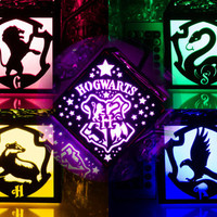 Harry Potter Hogwarts Houses Crest Inspired Color LED Lantern - Gryffindor Ravenclaw Hufflepuff Slytherin School of Witchcraft and Wizardry Strong Alumini