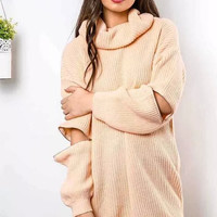 Pink Cutout-Sleeve Turtle Neck Knitted Sweater