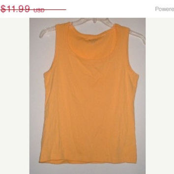 SUMMER SALE CHICO'S 1990 Yellow Cotton Knit Tank Top Shirt Size 3