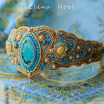 Amber gold and blue - beaded headband (tiara) with natural turquoise - Bead Embroidery Art