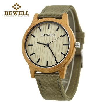 Wooden Face Canvas Band Watch