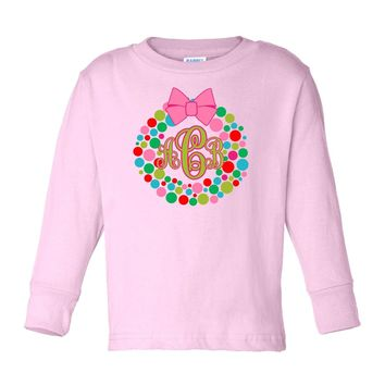 Christmas Wreath with Monogram on Long Sleeve Pink T-Shirt