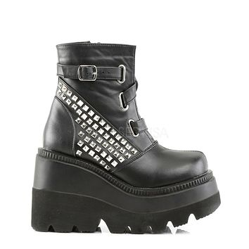 Studded Black Vegan Leather Stacked Wedge Ankle Boots
